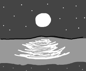 Grayscale: moon over beach