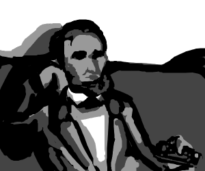 Abe Lincoln watching tv