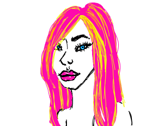 A woman with pink hair and yellow hilights