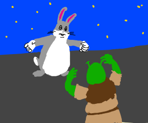 tiny shrek and fat bunny r abt to fight!