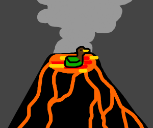 Duck casually swims in volcano