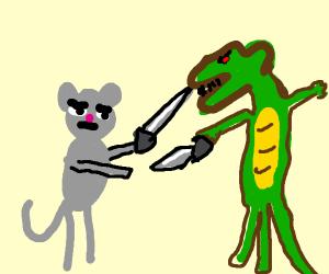 Mouse swordfights a crocodile