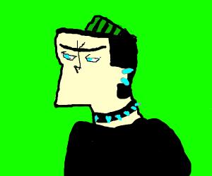 Anime weirdo with green hair and spikebracelt