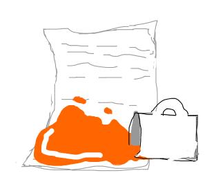 OJ spill on paper