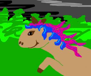 deer has pink and blue wavy hair