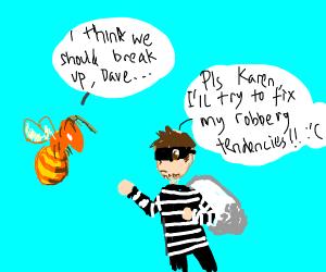 bee breaks up w robber