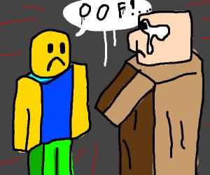 Roblox noob yells at Minecraft villager