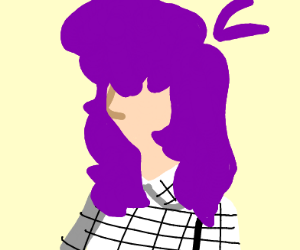 Purple haired girl with a checkerboard shirt
