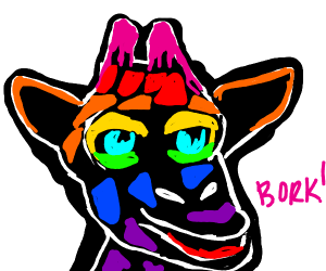 Rainbow giraffe says BORK