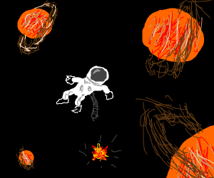 Dead astronaut surrounded by Saturns in space