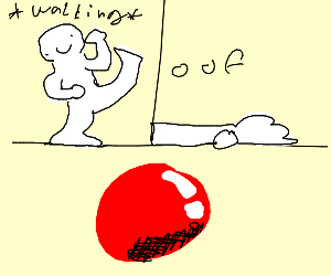 before falling - after falling - red ball