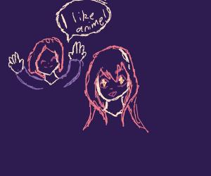 Girl likes animu.
