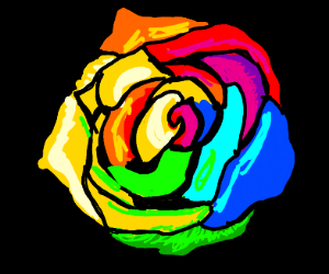 A rainbow-colored flower.