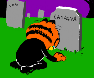 Garfield mourns the loss of lasagna