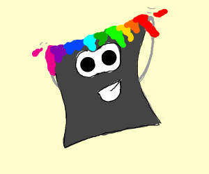 Anthropomorphic cartoon paint bucket