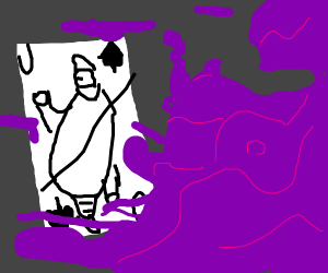 Jack of spades consumed by purple mist