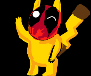Pikachu with a deadpool mask