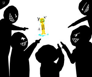 happy tiny man being bullied