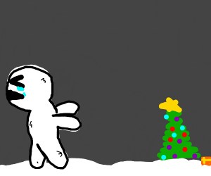 yety running away from a christmas tree