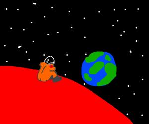 Matt Damon on mars looking at his home earth