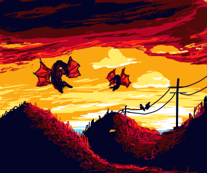 Dragons flying (with sunset behind)