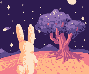 Curious rabbit looking @ tree with starry sky