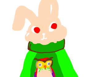 white rabbit with green owl sweater