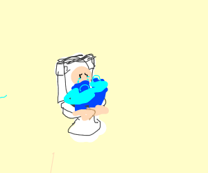 man crying on the toilet