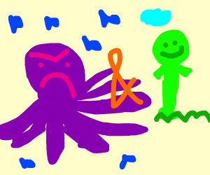 Angry purple octopus and happy green man
