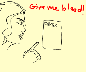 Girl needs blood from paper