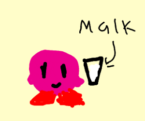 Kirby finds a glass of malk