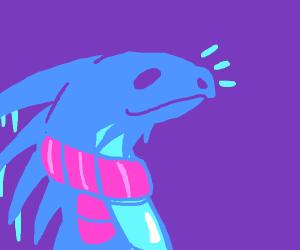 ice dragon wearing scarf