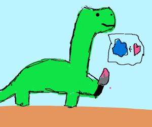 murder dino seems happy, and likes blue