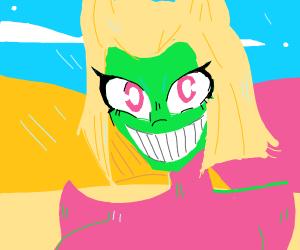 Blonde alien grins in the desert