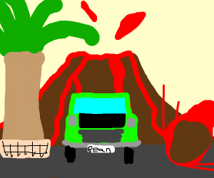 Mr Bean flees from erupting volcano