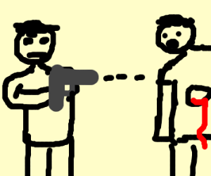 Shooting person in the stomach