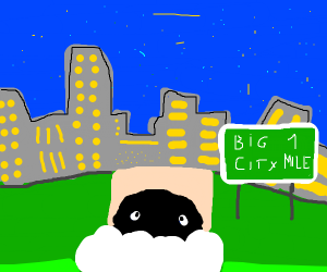 a sheep going to visit the big city