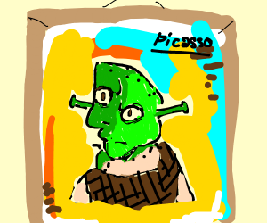 Picasso painting of Shrek