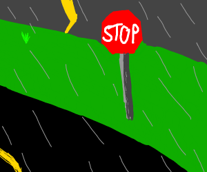 Stop Sign in a Thunderstorm