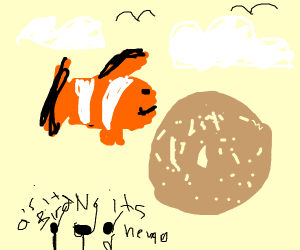 Nemo flying with Bagel