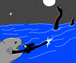 a sad shark shoots the lochness monster
