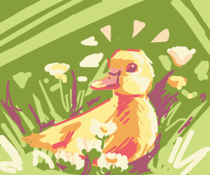 A cute little duck laying down in the grass