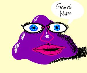 Big eyed purple blob says goodbye