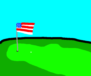 American Flag On A Golf Course