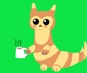 Furret (pokemon) has some coffee