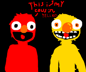 Elmo and Yellow Elmo