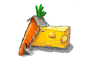 Giant carrot house and big cheese