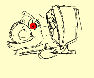 Snail playing with a Computer