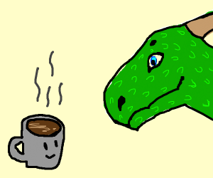 Dragon makes friends w/ cup of coffee