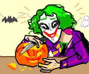 joker carving pumpkins